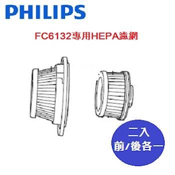 【PHILIPS 飛利浦】FC6132吸塵器專用HEPA濾網 (前/後各一)