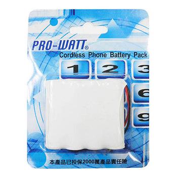 PRO-WATT P110萬用接頭 無線電話電池4.8V 600mah (尺寸:AA*4)