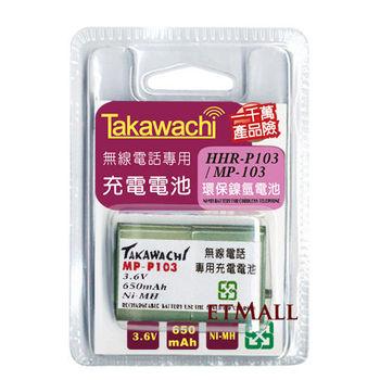 【Panasonic國際牌】無線電話副廠電池 相容於HHR-P103