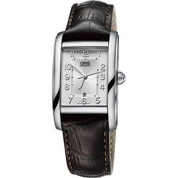 Oris Rectangular 經典日期顯示機械女錶-銀x咖啡/25mm 0156176924061-0751820FC