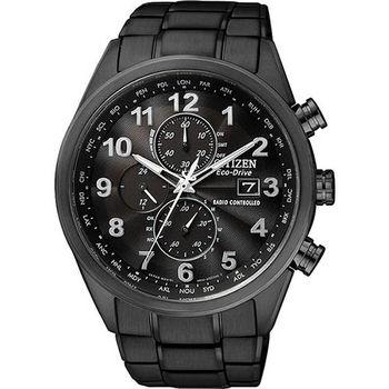 CITIZEN Eco-Drive 光動能電波計時腕錶-黑/43mm AT8105-53E