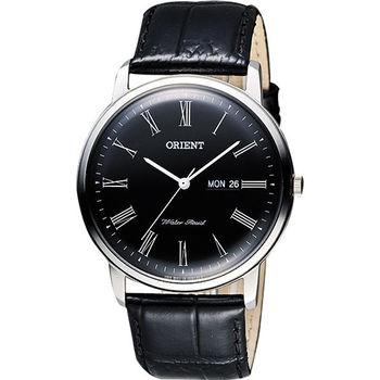 ORIENT 都會極簡羅馬石英腕錶-黑/40mm FUG1R008B