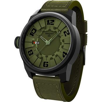 elegantsis Army 都市實戰潮流腕錶-綠/48mm ELJT48-2G09LC