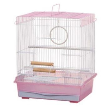 【MARUKAN】方形鳥籠(粉色) MB-103 x 1入