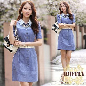 【ROFFLY蘿芙莉】預購-韓版復古棉麻水洗牛仔短袖蕾絲翻領洋裝(IS7631)