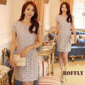 【ROFFLY蘿芙莉】預購-韓版時尚蕾絲鏤空荷葉袖手工釘珠修身洋裝(IS7622)