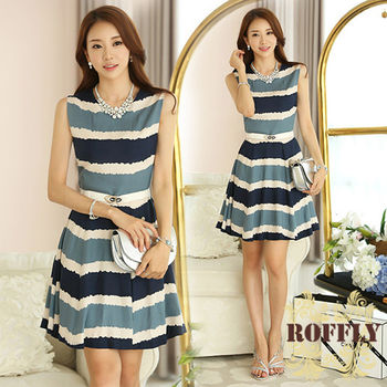 【ROFFLY蘿芙莉】預購-時尚甜美印花海軍風條紋無袖修身洋裝(IS7055)
