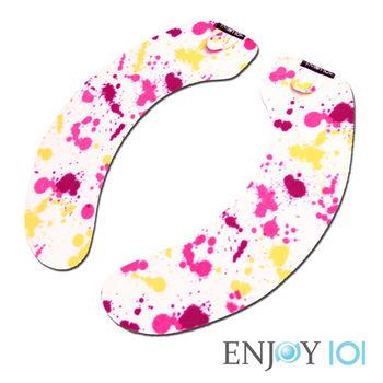 《ENJOY101》抗菌止滑馬桶坐墊-水洗式(旅行可攜)-彩色潑墨