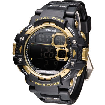 Timberland 天柏嵐 Tuxbury 潮流品味數位腕錶 TBL.14260JPB/02A 黑+金