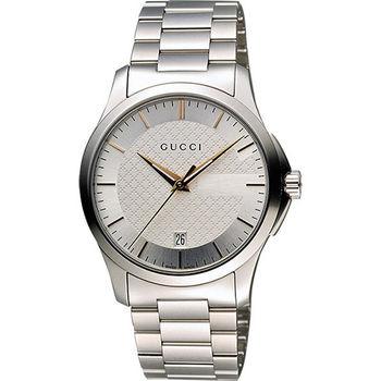 GUCCI G-Timeless 古馳菱格紋時尚腕錶-銀/38mm YA126442
