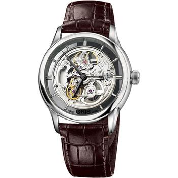 Oris Artelier 藝術家鏤空機械腕錶-銀x咖啡  0173476844051-0752170FC
