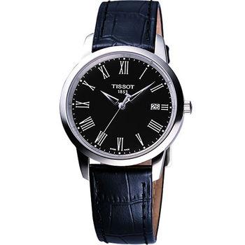 TISSOT Claccic Dream 經典皮帶腕錶-黑  T0334101605301