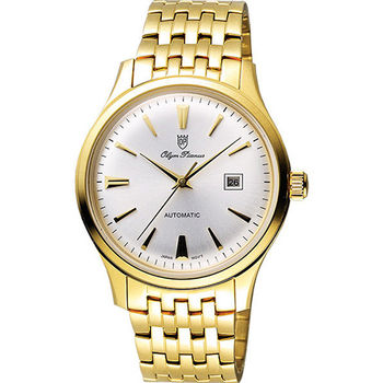 Olympianus 奧柏 尊爵復刻時尚機械腕錶-銀x金/39mm 990-14AMK