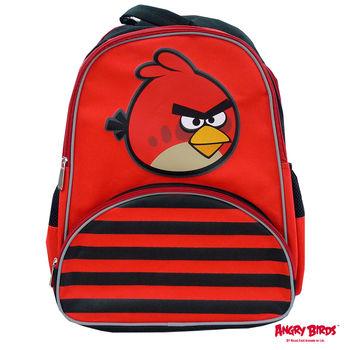 【Angry Birds 憤怒鳥】造型條紋護脊書背包(B1款_紅_憤怒鳥)