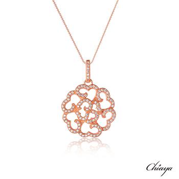 【夏亞珠寶】霓采 925銀鍍玫瑰金 項鍊