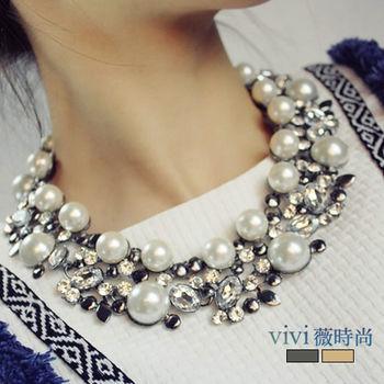 換季出清!原價890!vivi薇時尚-歐美風優雅花朵合金珍珠短項鍊(金色)