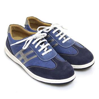 【GREEN PHOENIX 波兒德】輕便素雅線條雙色全真皮綁帶休閒鞋-藍色