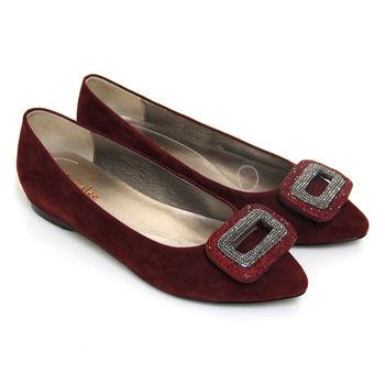 【ANNAlee】ANNAlee 都會絢麗雙彩排鑽牛麂皮尖頭平底娃娃鞋-紅毛