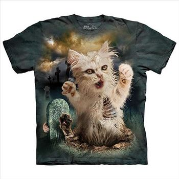 【摩達客】(預購)美國進口The Mountain 殭屍貓 純棉環保短袖T恤