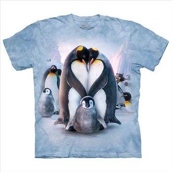 【摩達客】(預購)美國進口The Mountain 企鵝家族 純棉環保短袖T恤