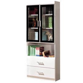 【時尚屋】[G15]肯尼2.7尺玻璃門雙抽書櫃223-4