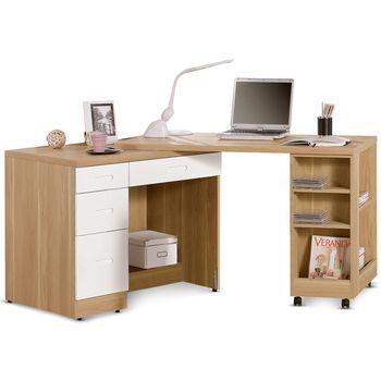 【日式量販】多功能4尺白橡雙色移動書桌