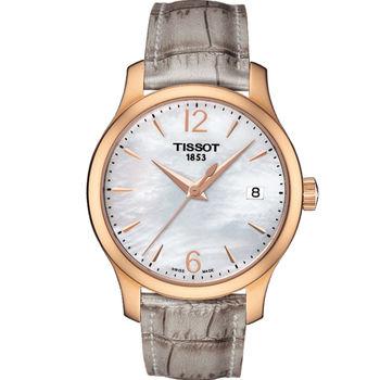 天梭 Tissot Tradition Lady 珍珠彩貝時尚錶 T0632103711700 玫瑰金x灰