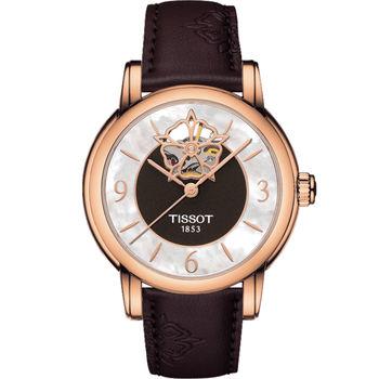 天梭 TISSOT Lady Heart 瑰麗藝術鏤空機械腕錶 T0502073711704 咖啡x玫瑰金色