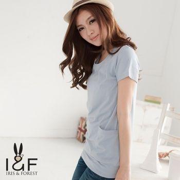 IFOREST  素色柔棉大口袋長版上衣(藍、灰、玫紅、棕色)12041
