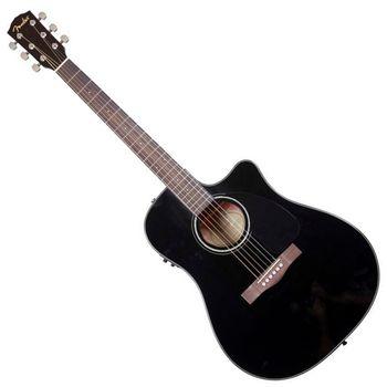 【FENDER】電民謠吉他/電木吉他內建FISHMAN調音式EQ 配硬盒-黑色-公司貨 (CD-60CE BK)