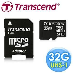 【Transcend創見】32GB microSDHC C10 300X U1記憶卡-附轉卡