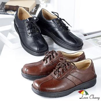 【Leon Chang】輕鬆舒適大尺碼真皮休閒鞋