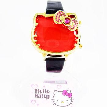 日本Hello Kitty可愛造型電子錶 金紅色