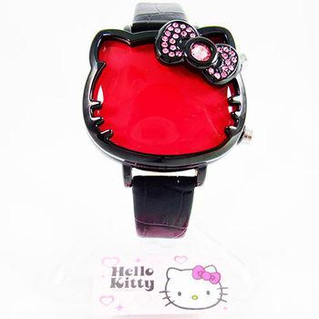 日本Hello Kitty可愛造型電子錶 黑紅色