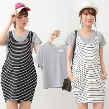 【時尚媽咪】條紋背心+短T兩件式哺乳洋裝(共二色)