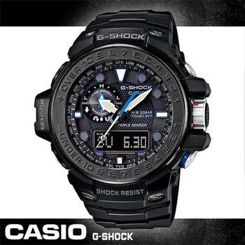 【CASIO 卡西歐 電波錶】太陽能_電波接收_羅盤_男錶(GWN-1000C)