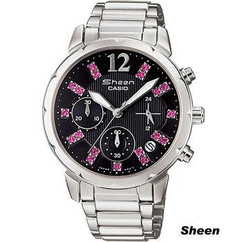 SHEEN 酷黑與桃紅時尚腕錶 SHN-5012D-1A 黑