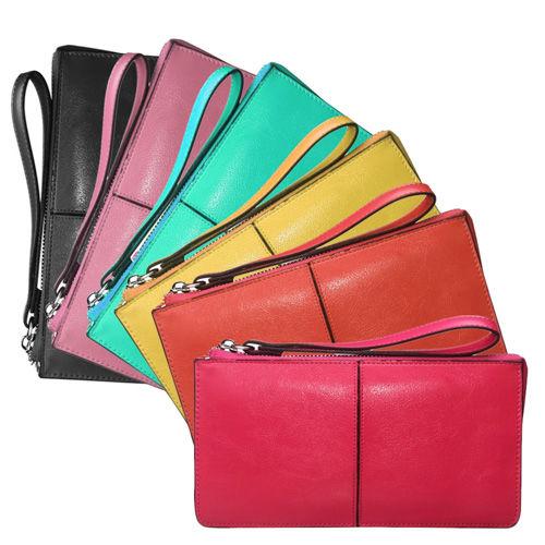 阿卡天使真皮優雅簡約多功能手機錢包手拿包(6色)PWM050