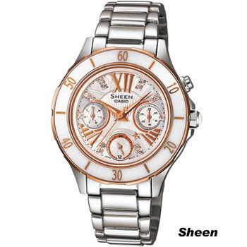 CASIO Sheen 雪之女王時尚腕錶 SHE-3505SG-7A 銀x白