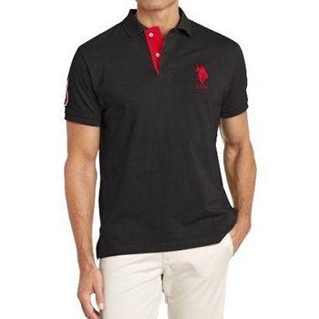 US Polo 2015男時尚馬球對比色領子黑色合身短袖POLO(預購)