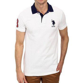 US Polo 2015男時尚馬球對比色領子白色合身短袖POLO(預購)