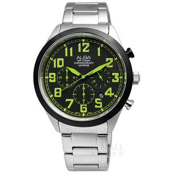 ALBA / VD53-X170G.AT3595X1 自信潮流藍寶石水晶三環計時不鏽鋼腕錶 黑x綠 44mm
