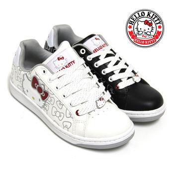 【HELLO KITTY】凱蒂貓朵結印花休閒板鞋-白色、黑色