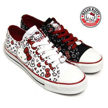 【HELLO KITTY】凱蒂貓蝴蝶結圖騰休閒帆布鞋-黑色、白色