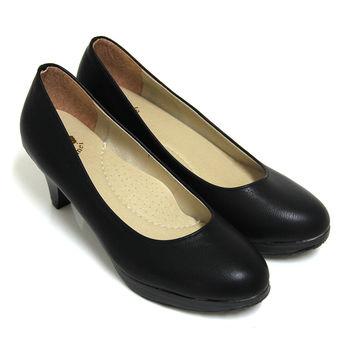 【Pretty】百搭OL必備款簡約素面高跟鞋-黑皮