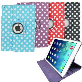 L64波點旋轉款 iPad Air(iPad5)平板皮套