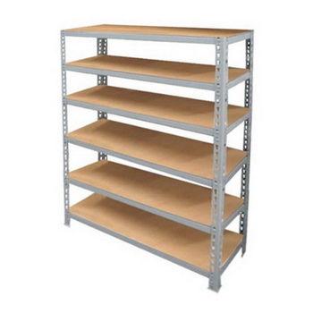 台灣製 組合式L角鋼架 置物架-600型/六層板(121X51X182)