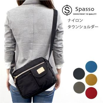 【Spasso】日本品牌 橫式 斜肩背包 B5側背包 小方包 亮面尼龍 輕量 男女推薦休閒款【4-281】