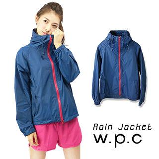 【w.p.c】戶外時尚輕量運動防水風衣(深藍桃)