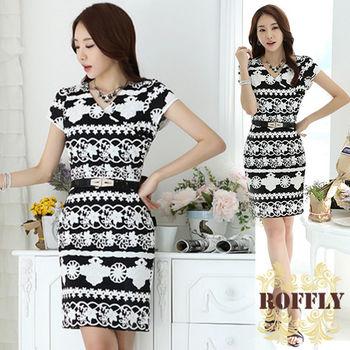 【ROFFLY蘿芙莉】預購-韓版民族風復古修身顯瘦V領短袖OL洋裝(IS7063)